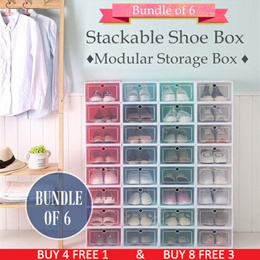 ♦ Bundle of 6 ♦ BUY 4(8) FREE 1(3) ♦ Shoes Box Storage Rack ♦ Shoe Cabinet Shelf Drawer ♦