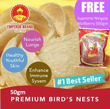 50g Dried Emperor Brand Premium Bird Nest Promotion Free Ningxia Supreme Wolfberry 500gm