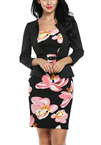ACEVOG Women Long Sleeve Floral Business Party Bodycon One-Piece Dress with Belt (Large, Pink)