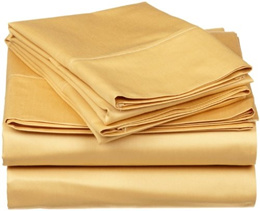 """400 Thread Count Real Solid / Plain Color ( Gold ) Fitted Depth Pocket 18"""" Inches Egyptian Quality S"""