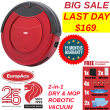 2-in-1 Robotic Vacuum Cleaner (Dry and Mop) ERV 3031T Time Scheduling / Auto - 15 Months Warranty