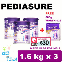 PEDIASURE TRIPLE PACK FREE 600G (3x1.6KG) - VANILLA  MILK FORMULA ★MADE IN SINGAPORE FOR MALAYSIA★