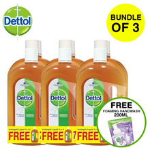 *BUNDLE OF 3*Dettol Antiseptic Germicide - Twinpack 2L with Free 750ml  + FREE Foaming Hand Wash