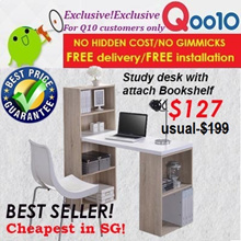 Furniture sales!Study/Computer/ desk with attach book shelf !3 design/Free delivery+installation
