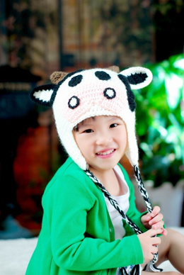 Lovely Cartoon Hat Warm Knitted Winter Cap Animal Cow for Children Kids 6d684821c454