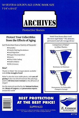 Archives Silver & Golden Age 4-Mil Thick Comic Mylar Sleeves 7-3/4