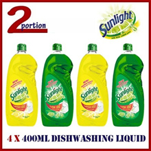 Bundle of 4! FREE SHIPPING! 4 x 400ml Sunlight Hand Dishwashing Liquid Soap