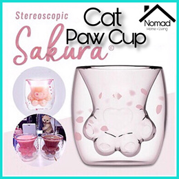NOMAD *Ready Stocks* Stereoscopic Sakura Cat Paw Cup Cat Foot Glass Mug Starbucks