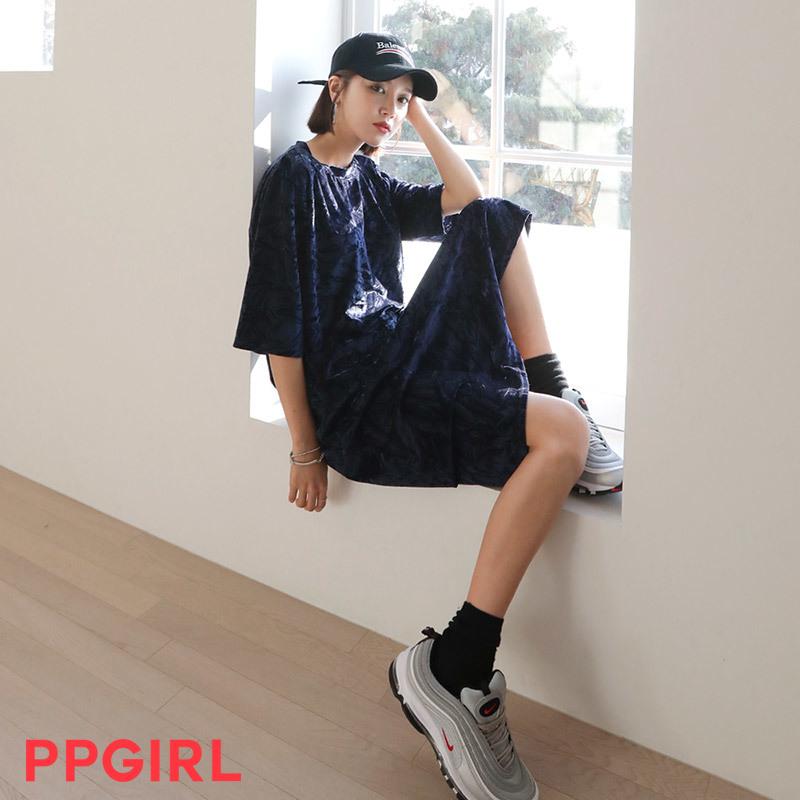 ♥送料 0円★PPGIRL_B182 Simple velvet dress / casual long dress / loose fit / box dress / napping dress