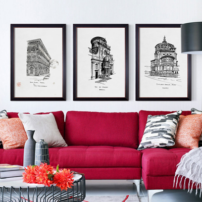 Fell in love with a European architectural sketch sketching of simple-up  painting the living room