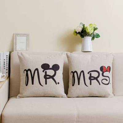 Qoo10 Mr And Mrs Pillow Cover Love Couple Pillow Cases Letter
