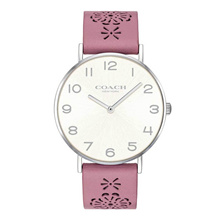 COACH PERRY QUARTZ 14503030 SILVER LEATHER STRAP WOMEN WATCH