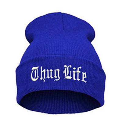 b4197e2e068 wholesale THUG LIFE 2018 Black Letter Beanie Unisex Fashion Hip Hop Mens  Beanies Knitted Caps for