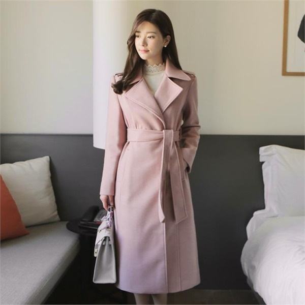 [韓国直送] ステッチロングコートクラシックラグジュアリー冬の女性のコートのウールのベルト