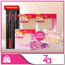 ZA Perfect Fit Two Way Foundation Refill + Casing / Brows Liner Twin Pack [Qoo10 EXCLUSIVE]