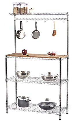 [STORAGE MANIAC] STM1102000041 - 4-Tier Adjustable Kitchen Bakers Rack, Kitchen Storage Shelving wit