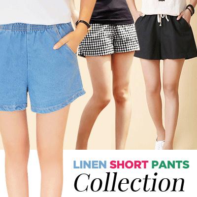 Cotton Linen Denim Jeans Wanita Celana Pendek Kotak-kotak Olahraga Pendek