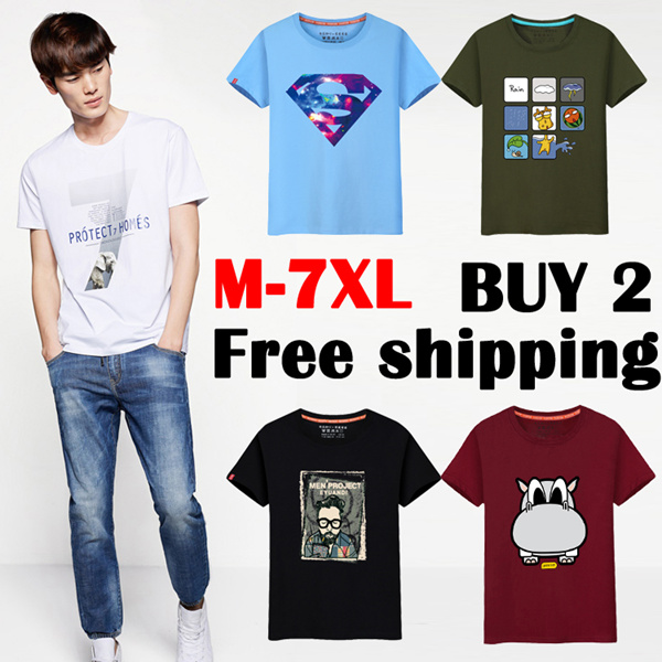 Buy 2 free shipping Cotton T-Shirt Men Women Casual SHORT SLEEVE TEE Premium Quality Cotton Tee Deals for only S$38.8 instead of S$0