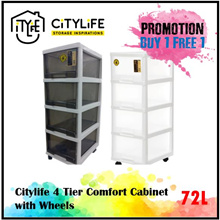 [Best seller * Buy 1 Get 1 Free] Citylife 4 Tier  Comfort Cabinet w Wheels 72L