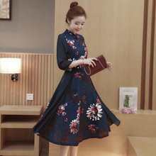 Spring/summer 2017 retro print cotton cheongsam dress new styles of self printed long skirt