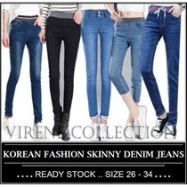 NEW【HIGH QUALITY - FAST DELIVERY】Korean Fashion Skinny Soft Denim Jeans / Long Pants / Shorts