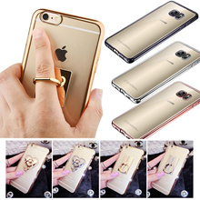 S7 S7 Edge HOT Luxury Finger Ring  Holder Ultra Thin Clear Crystal Rubber Plating Electroplating TPU Soft Mobile Phone Case For iPhone 6 6s Plus Samsung Note5 ON5 S6 S6 Edge S6 Edge Plus Xiaomi