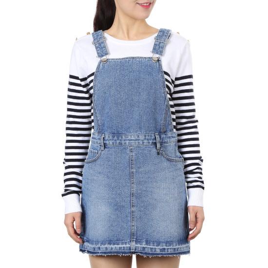 プラストーリーのデニムサスペンダーワンピースPH2DO362 面ワンピース/ 韓国ファッション