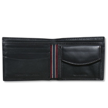 AUTHENTIC Tommy Hilfiger Mens Genuine Leather Wallet Bifold with Coin Pocket Black in Gift Box