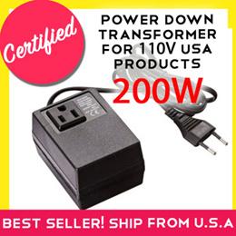SevenStar F200 SMF-200 200 Watt 220/240V to 110/120V AC Step Down Travel Converter/ Transformer for U.S. Product use