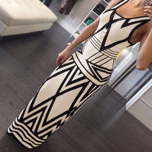 女性のセクシーな幾何学的なノースリーブスリムフィットロングフォーマルイブニングドレス