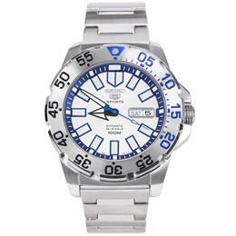 Seiko 5 Sports Monster White  Blue Automatic Watch SRP481K1 SRP481K SRP481