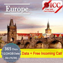 ◆ ICC◆【Europe Sim Card · 60/365 Days】12GB/24GB Data (Support Router)+ Free Incoming Call❤ UK+Europe