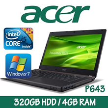 Refurbished Acer Travelmate P643 Laptop / Intel i5/ 4GB RAM/ 320GB HDD/ Win 7/One Month Warranty