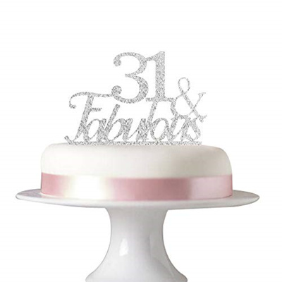 Succris 31 Fabulous Cake Topper For 31st Birthday Party Decorations Acrylic Silver