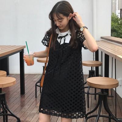 夏 新しいデザイン 女性服 ルース 着やせ 中空 リボン ヒットカラー ひもあり 学生
