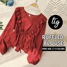 TIG ★ PUFFED LONG SLEEVE RUFFLED BLOUSE ★ FREE SIZE ★ FREE SIZE ★ 5 COLORS★