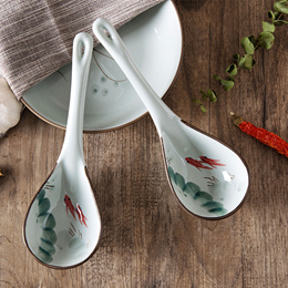 Ceramic hand-painted Japanese soup spoon children s long handle spoon creative kitchen tableware spo