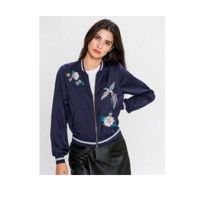 ジルナストマトジュニアレディースファッションフラワー刺繍ジップフロントボマージャケットUSサイズSL