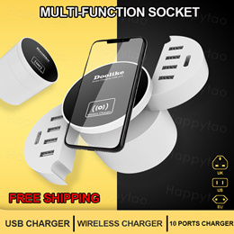 Wireless Charger + USB Charger 2 in 1 for Phone LED Light MP3 MP4 Fan Power Bank Charging.