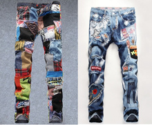 Mens Jeans Lo pants Multicolored cloth splicing 247 #