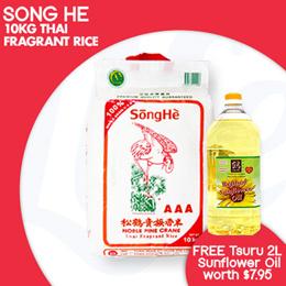 [TSP] SONGHE - 10KG THAI FRAGRANT RICE!| QUALITY RICE! FREE SUNFLOWER OIL 2L (Worth 7.95)