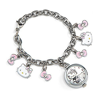 O Kitty Stainless Steel Watch And Charm Bracelet