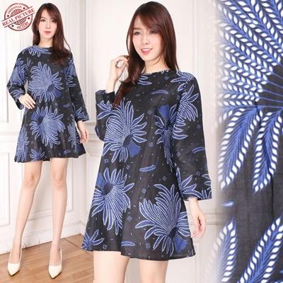 Midi Dress PAdi Biru Batik Tunic