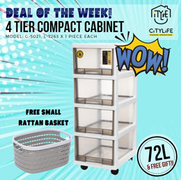 WOW DEAL! - Citylife 4 Tier  Comfort Cabinet w Wheels 72L* BEST DEAL!