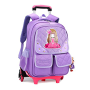 6 Wheels Children School bags trolley backpack carton pattern rolling luggage kids detachable and orthopedic bag