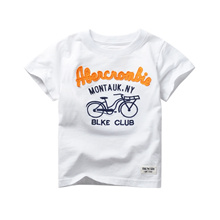 Fashion Kids T-shirts 2017 Summer Children T-shirt Letter Bicycle Printed T Shirts Cotton Casual Boy