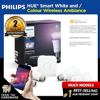 Philips Hue Lightings (Starter Kit/LED Strips/Bulb/Extensions/Bridge) - (2  Years Local Warranty)