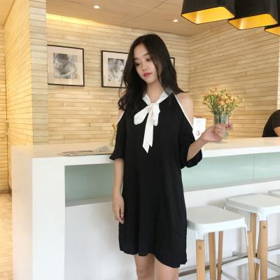 夏 韓国風 アンティーク調 気質 肩なし リボン 着やせ シフォン ワンピース  テクス