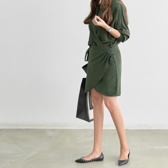 ピピンセイディショリンレプリボンワンピース34876 綿ワンピース/ 韓国ファッション