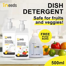 BLACK FRIDAY SALE! [1+1] INEEDS #1 SAFE NATURAL Dish Detergent 500ml- Safe washing fruit vegetable